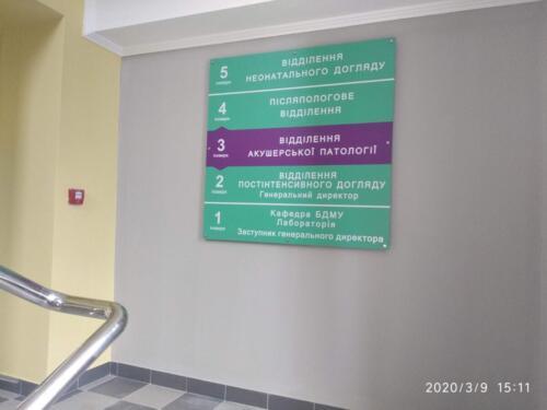 Перинатальний Центр, навігація, таблички вивіски, стенди